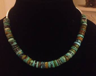 CONTEMPORARY -Genuine Turquoise Heishi Sterling Silver Collar Necklace