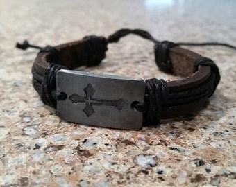 Engraved Cross Bracelet, Silver Metal Cross Panel, Brown Leather Bracelet, Black Hemp Rope, Wrapped Leather Rope Bracelet, Surfer Bracelet