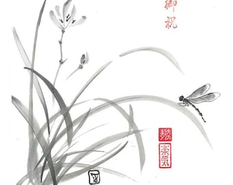 "Digital Download ""Dragonfly and Wild Orchid"", Ink Brush, Ink Drawing, Asian art, Wall art, Minimalist, Japanese Art, Sumi-e, gift for her"