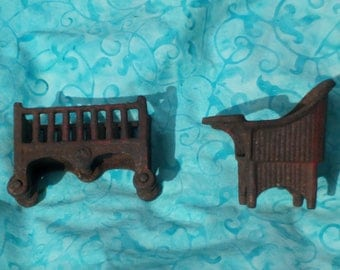 Old Doll House Furnature, Antique Cast Iron Toys for doll house.Crib and High Chair Doll House Furnature