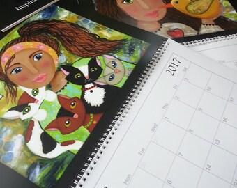 SALE ITEM    2017 mixed media art calendar, inspirational calendar, Mixed media 2017 art calendar, mixed media girls,whimsical calendar