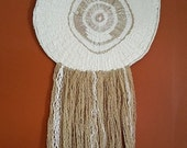 Round Wall Hanging, Handmade Weaving, Woven Round, Circle Fiber Art, Dreamcatcher Textile, Round Woven Tapestry