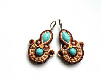 Earrings-Soutache-Hand Embroidered - Sahara
