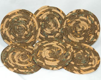 fabric wrapped Clothesline absorbent coiled coasters set of 6