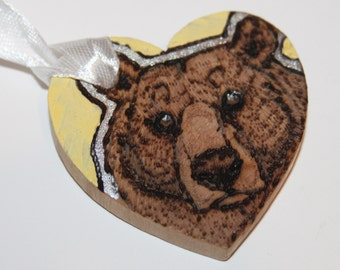 Pyrography Wood Burning -  Grizzly bear Love Token - Pastel Yellow - Wooden Heart Gift