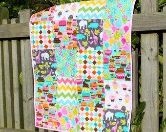 Spring Quilt Sale Modern Patchwork Quilt for a Baby Girl, Nursery Decor, Stroller Blanket