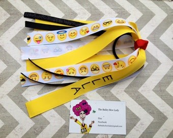 Emoji Ponytail Streamer-Emoji Hair Bow-Emoji-Emoji Ponytail