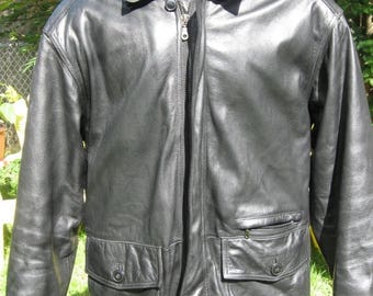 "SALE Vintage Danier Leather Black Men's Car Coat 3/4 Length Soft thick high end leather. Size S/ M   48"" chest"