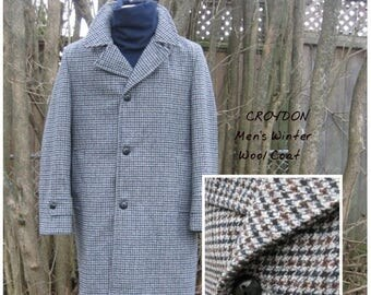 SALE Vintage CROYDON Men's Wool Coat , Gray Blue Black Rust , State size 40 R with a 44'' chest , Lined , Would be a great BoyFriend coat .