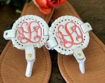 Monogram Sandals/ Disk Sandals/ Bridesmaid Gift/ Medallion Sandal/ White Coral/ Monogrammed/ Personalized