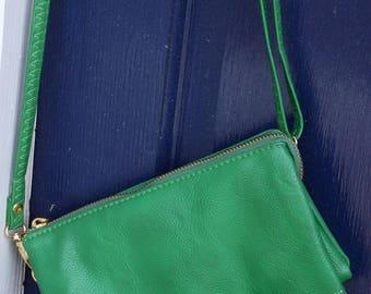 Crossbody Purse/ Wristlet Clutch / Monogrammed Cross-body/  Credit Card Holder Bridesmaid / Personalized Purse/ Monogram / Green