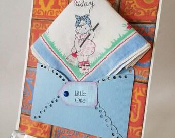 Vintage Children's Handkerchief Blue Orange Baby Girl Nursery Decor First Birthday Baptism Christening Keepsake Hanky Greeting Card