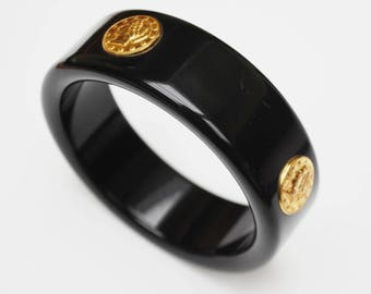 Gold Coin Bracelet - Black Lucite Plastic -  Bangle 1980s