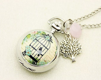 Necklace Pocket watch cage and bird 2222m