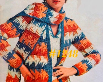A Best Vintage 1970s Cardigan, Shell Pullover & Scarf 3-Piece set #1248 PDF Digital Crochet Pattern