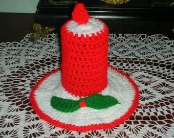 Vintage 1970s Collectible Handmade Crochet Red White Christmas Holiday Candle