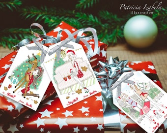 Printable Holiday Gift Tags Holiday Cards 2016 Christmas Gift Tags Holiday Gift Tags Instant Gift Tags Gift Tags PDF Fashion Gift Tags