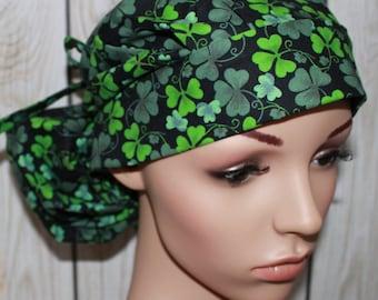 Green Shamroks,Surgical Scrub Hat ,Scrub Cap,OR Nurses Cap,Vet,Vet Tech,Front Fold  Ponytail