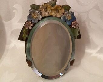 Barbola Mirror - Tiny Oval Vintage Cottage Chic English Barbola Mirror - Rare