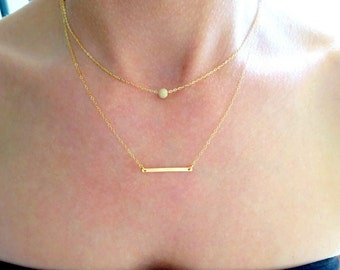 Layered Gold Necklace Set, Dainty Layered Necklaces, Layered Necklace Set of Two, Gold Jewelry, Layer Jewelry, Two Layer Gold Necklace