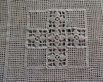 Vintage Beige Hand Crocheted Pillow Cover size 18 inch square