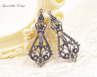 Ornate Antique Silver Ox Victorian Filigree Chandelier Earring Findings Connectors Dangles - 4