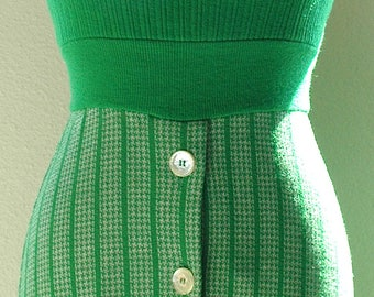 """Vintage Maxi Knit Halter Dress  - """"Kelly Green Girl"""""""