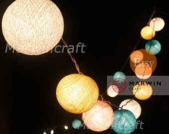 20 Cotton Balls Pastel Night Tone Fairy String Lights Party Patio Wedding Floor Table or Hanging Gift Home Decor Christmas Bedroom