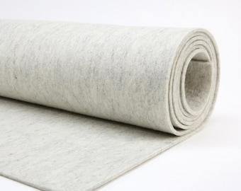 3mm Wool Felt  HEATHER WHITE // Thick Wool Felt // Designer Wool Felt - Handbag Felt // 9 X 18