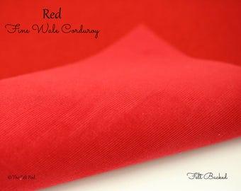 Red Corduroy // Robert Kaufman Fabric // Fabric Felt // Felt Backed Fabric // 21 Wale Corduroy // Fine Wale // Baby Wale Cord