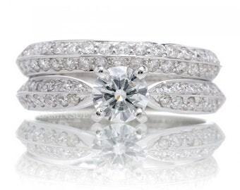 18K Diamond Solitaire Knife Edge Design Simple Pave Engagement Bridal Set Wedding Band Ring