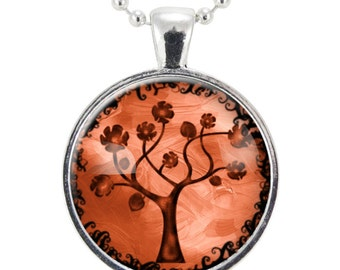Red Tree Necklace, Forest Necklaces For Women, Gift Ideas For Nature Lovers (0629S25MMBC)