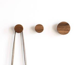 Wall hooks - walnut hook - coat hooks - wooden wall hooks - modern hook -