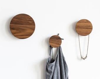 wall hooks, wooden hooks, walnut wall hooks, entryway coat hangers, wall knobs