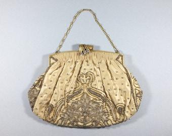 Vintage beaded purse clutch evening bag, French handbag, Hand made silk purse, Rhinestone clasp, Silk evening bag