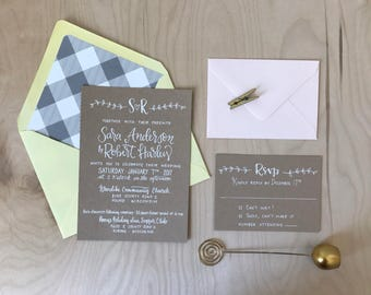 Custom Wedding Invitation Suite / Custom Calligraphy Wedding Invitation / Spring Wedding Invitation / Kraft Paper Invitation