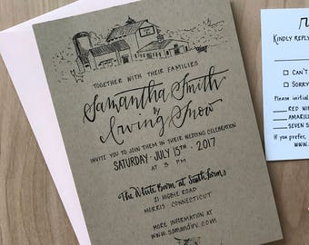 Custom Barn Wedding Invitations / Rustic Barn Wedding Invitation Suite / Custom Invitation Set / Kraft Paper Wedding Invitation