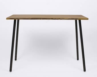 SMALL OAK DESK, Modern Red Oak Small Table,  On Steel Rod Legs, Side Table, Console Table, Entryway Table, Home Furniture