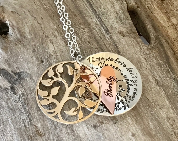 Memory necklace mourning, grieving, bereavement, remembrance custom Bronze tree sterling silver locket heart