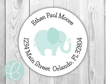 "Elephant -  Return Address Labels - 2"" Round Stickers - Glossy or Matte - Elephant Mint Nursery Baby Girl Boy Shower Animal Safari Favor Tag"
