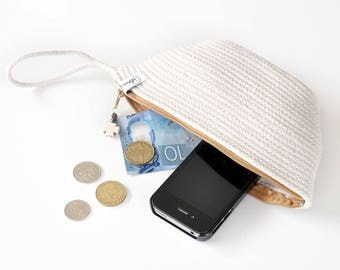 Wristlet, zippered pouch, wrist wallet, clutch purse, small purse, rope bag, coin pouch