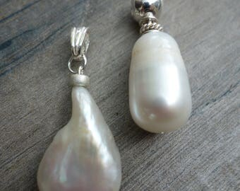 Long baroque pearl pendant. Sterling silver.