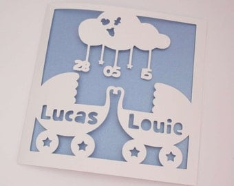 Twin baby / baby prams / new baby / birth announcement papercut personalised card