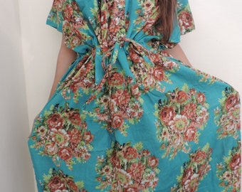 Floral Kaftan , Caftan, Perfect long dress, Spa Robe, For to be Moms, beach cover up, Sleepwear, Best Gift for her