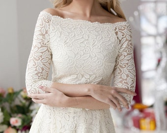 "Wedding dress. Delicate laced dress ""Milk"", milky lace, very soft and pleasant to the skin. Midi dress"