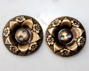 vintage metal brass buttons  matched pair one inch 2 holes floral pattern 1940's sewing supply excellent condition