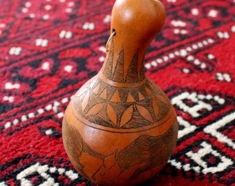 Vintage Tanzanian Decorative Gourd rattle carved African Folk Art late 1980's wildebeest and geometric patterns 5 1/2 inches tall