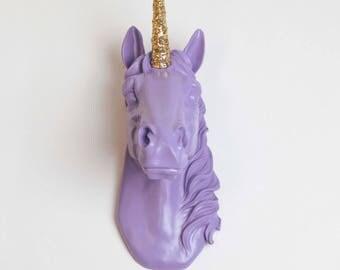 The Bayer in Lavender w/Gold Glitter Staff - Magical Unicorn Head - Unicorn Wall Mount Art - Unicorn Decorations - Kids Room Decor