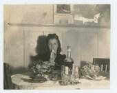 Vintage Snapshot Mini-Photo: Young Woman Eating Banana, c1930s-40s (71536)