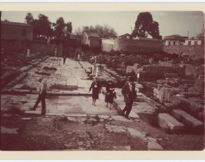Vintage Snapshot Photo: Exploring the Ruins of Old Corinth, c1960s (75578)